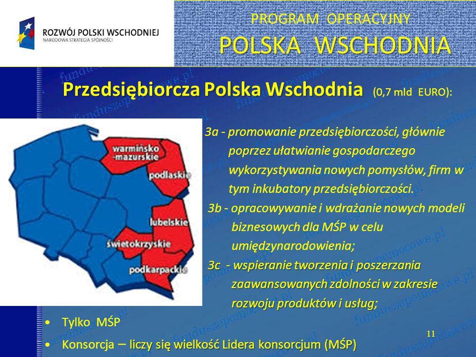POLSKA WSCHODNIA PROGRAM OPERACYJNY POLSKA WSCHODNIA 11 Przedsiębiorcza Polska Wschodnia Przedsiębiorcza Polska Wschodnia (0,7 mld EURO): 3a - promowanie przedsiębiorczości, głównie poprzez ułatwianie gospodarczego wykorzystywania nowych pomysłów, firm w tym inkubatory przedsiębiorczości.