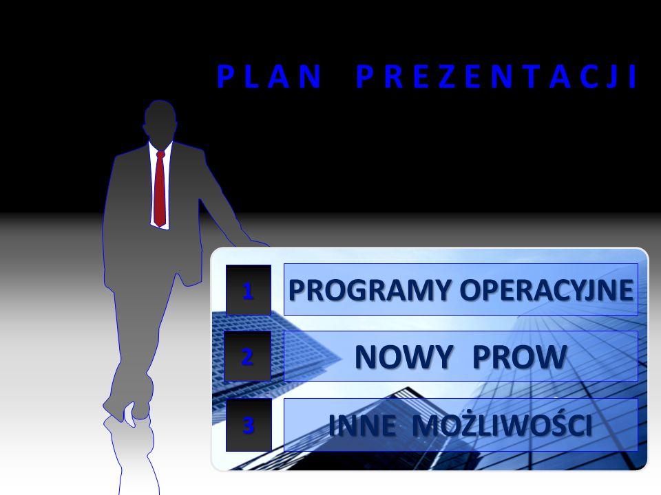 2 P L A N P R E Z E N T A C J I PROGRAMY OPERACYJNE NOWY PROW INNE MOŻLIWOŚCI 1 2 3