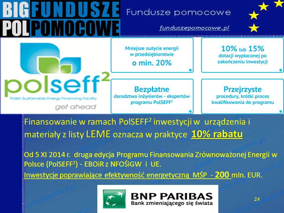 24 LEME10% rabatu Finansowanie w ramach PolSEFF 2 inwestycji w urządzenia i materiały z listy LEME oznacza w praktyce 10% rabatu Od 5 XI 2014 r.