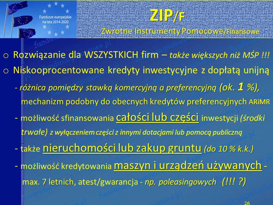 ZIP /F Zwrotne Instrumenty Pomocowe /Finansowe ZIP /F Zwrotne Instrumenty Pomocowe /Finansowe o Rozwiązanie dla WSZYSTKICH firm – także większych niż MŚP !!.