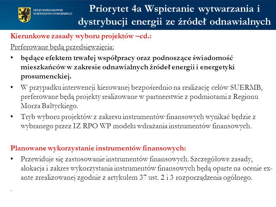 Priorytet 4a Wspieranie wytwarzania i dystrybucji energii ze źródeł odnawialnych Kierunkowe zasady wyboru projektów –cd.: Preferowane będą przedsięwzięcia: będące efektem trwałej współpracy oraz podnoszące świadomość mieszkańców w zakresie odnawialnych źródeł energii i energetyki prosumenckiej.