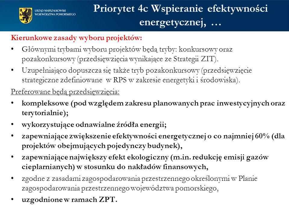 Kierunkowe zasady wyboru projektów: Głównymi trybami wyboru projektów będą tryby: konkursowy oraz pozakonkursowy (przedsięwzięcia wynikające ze Strategii ZIT).