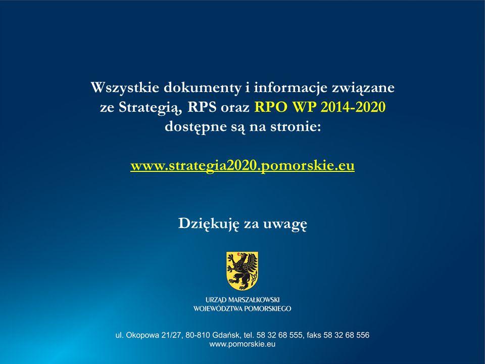 Wszystkie dokumenty i informacje związane ze Strategią, RPS oraz RPO WP 2014-2020 dostępne są na stronie: www.strategia2020.pomorskie.eu Dziękuję za uwagę