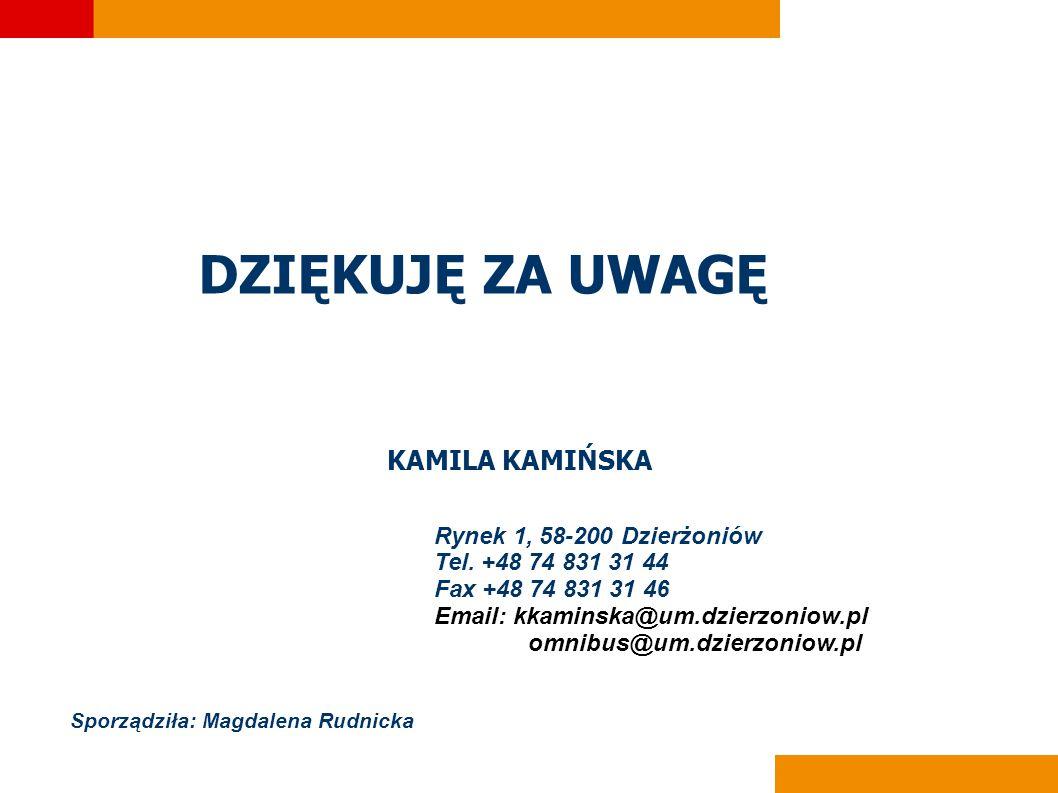 DZIĘKUJĘ ZA UWAGĘ KAMILA KAMIŃSKA Rynek 1, 58-200 Dzierżoniów Tel.