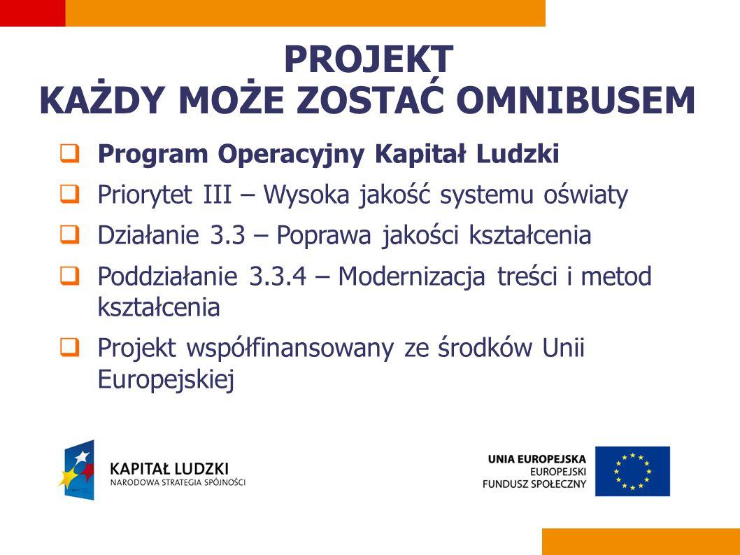  Program Operacyjny Kapitał Ludzki  Priorytet III – Wysoka jakość systemu oświaty  Działanie 3.3 – Poprawa jakości kształcenia  Poddziałanie 3.3.4 – Modernizacja treści i metod kształcenia  Projekt współfinansowany ze środków Unii Europejskiej PROJEKT KAŻDY MOŻE ZOSTAĆ OMNIBUSEM