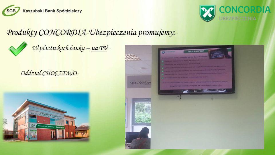 Produkty CONCORDIA Ubezpieczenia promujemy: W placówkach banku – na TV Oddział CHOCZEWO
