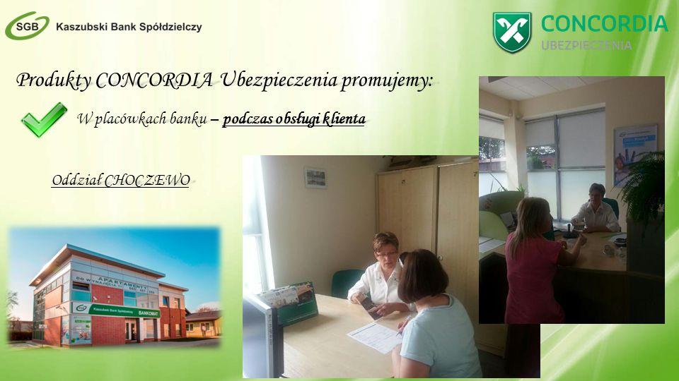 Produkty CONCORDIA Ubezpieczenia promujemy: W placówkach banku – podczas obsługi klienta Oddział CHOCZEWO