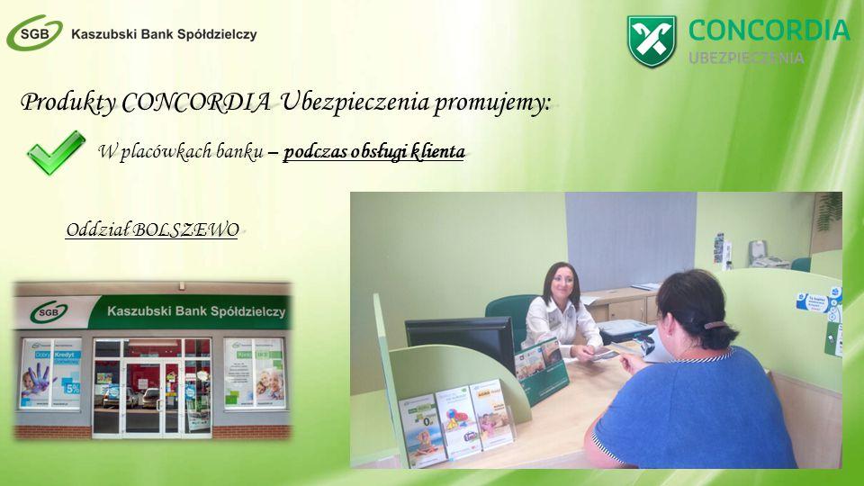 Produkty CONCORDIA Ubezpieczenia promujemy: W placówkach banku – podczas obsługi klienta Oddział BOLSZEWO