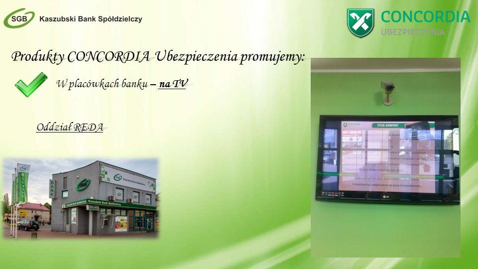 Produkty CONCORDIA Ubezpieczenia promujemy: W placówkach banku – na TV Oddział REDA