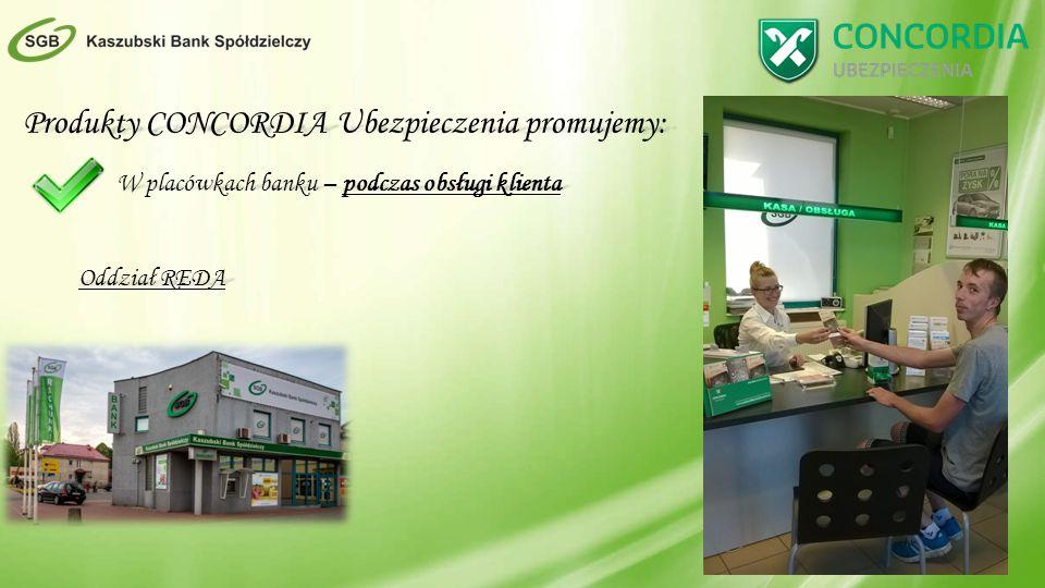 Produkty CONCORDIA Ubezpieczenia promujemy: W placówkach banku – podczas obsługi klienta Oddział REDA