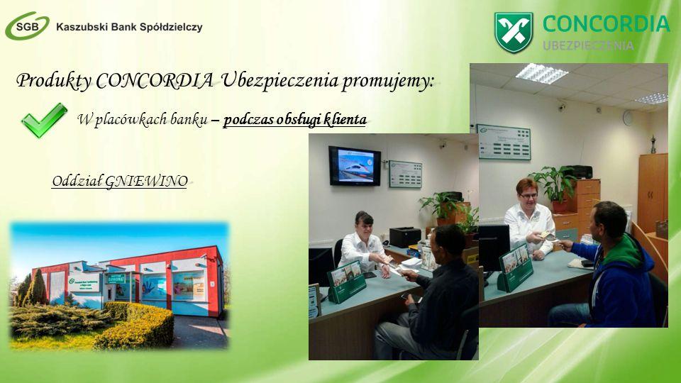 Produkty CONCORDIA Ubezpieczenia promujemy: W placówkach banku – podczas obsługi klienta Oddział GNIEWINO