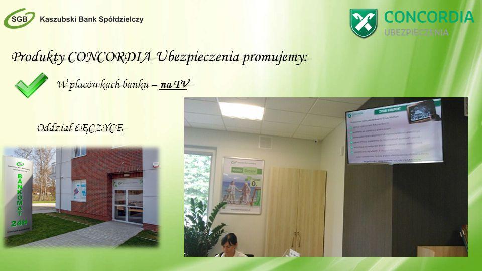 Produkty CONCORDIA Ubezpieczenia promujemy: W placówkach banku – na TV Oddział ŁĘCZYCE
