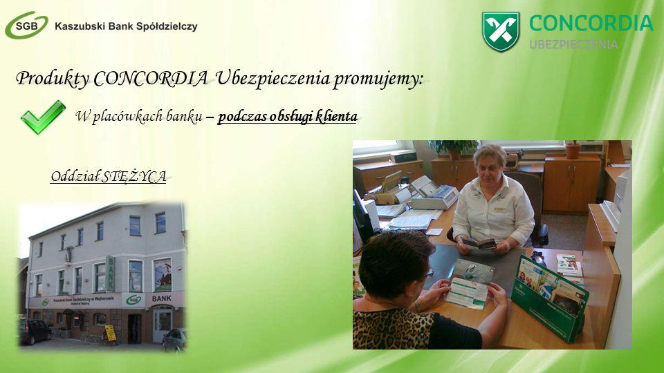 Produkty CONCORDIA Ubezpieczenia promujemy: W placówkach banku – podczas obsługi klienta Oddział STĘŻYCA