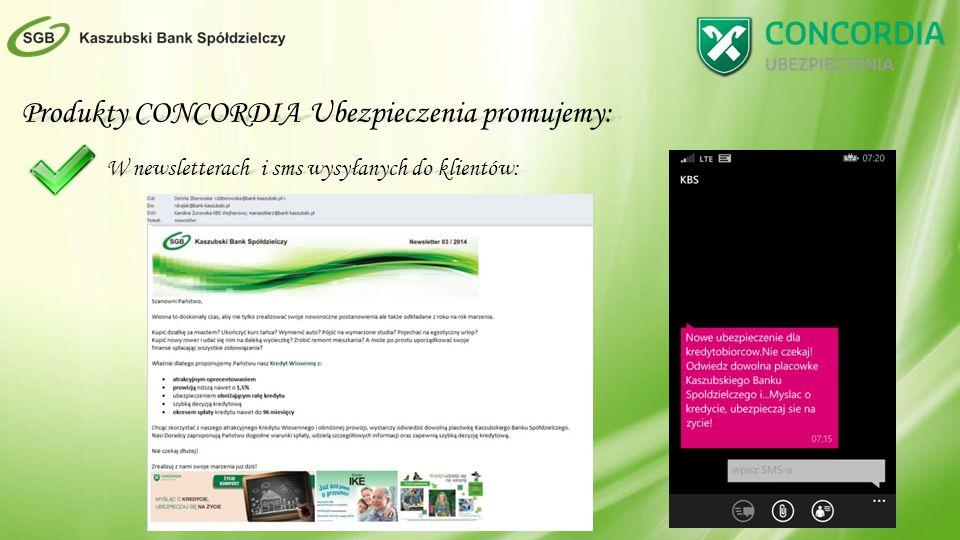 Produkty CONCORDIA Ubezpieczenia promujemy: W newsletterach i sms wysyłanych do klientów: