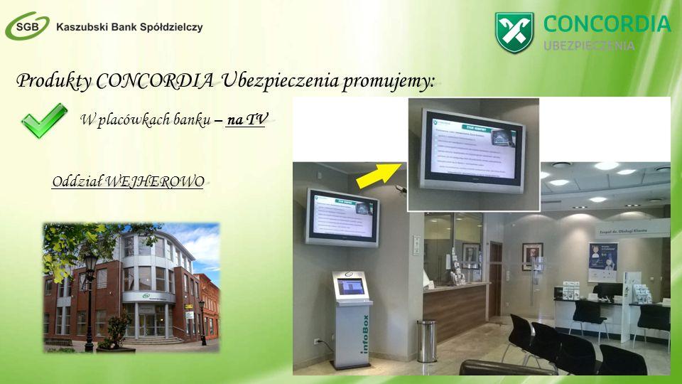 Produkty CONCORDIA Ubezpieczenia promujemy: W placówkach banku – na TV Oddział WEJHEROWO