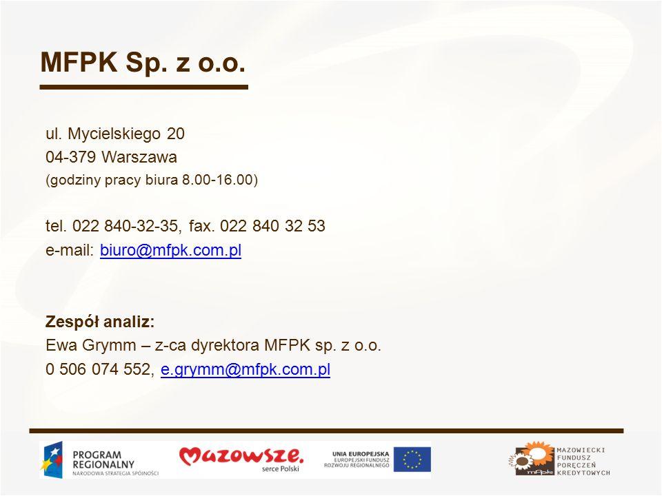 MFPK Sp. z o.o. ul. Mycielskiego 20 04-379 Warszawa (godziny pracy biura 8.00-16.00) tel.