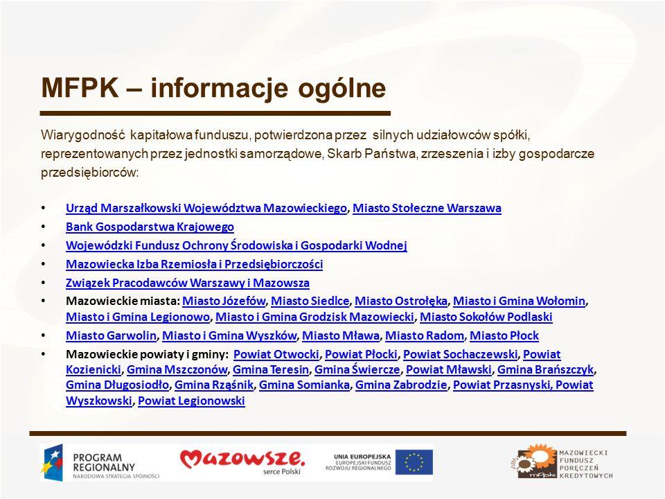 Poręczenie - opłaty (poręczenia standardowe – kredyty i pożyczki) Opłata za rozpatrzenie wniosku – 50 PLN Lp.