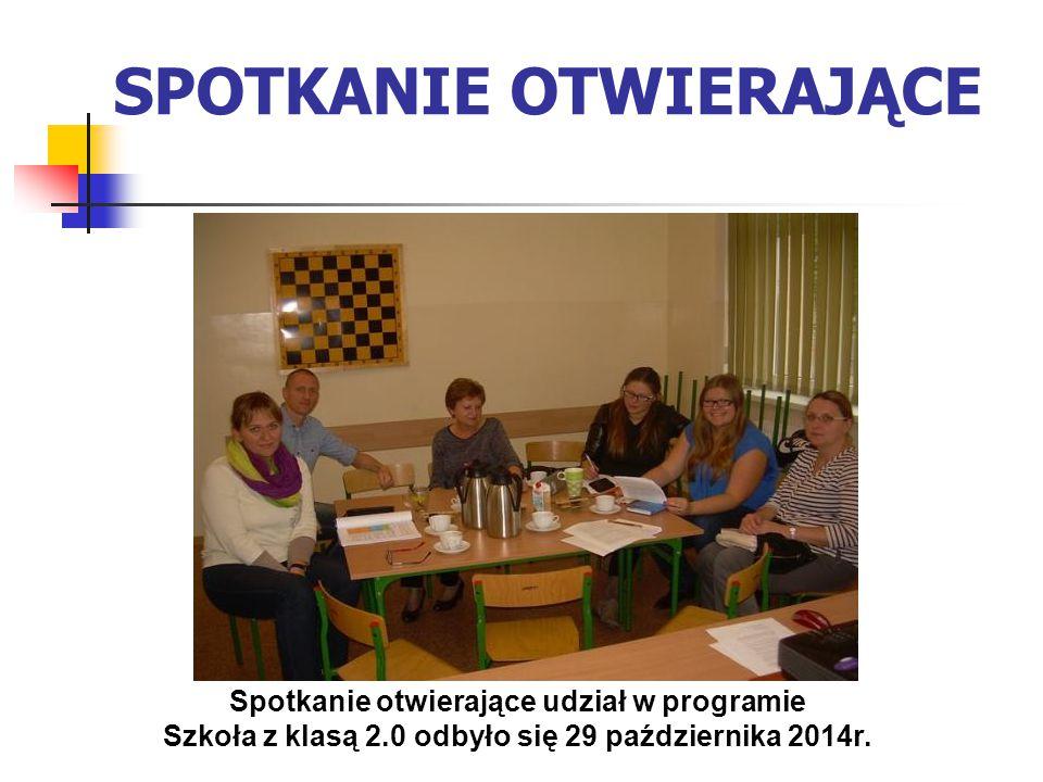 SPOTKANIE OTWIERAJĄCE Spotkanie otwierające udział w programie Szkoła z klasą 2.0 odbyło się 29 października 2014r.