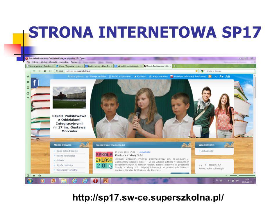STRONA INTERNETOWA SP17 http://sp17.sw-ce.superszkolna.pl/