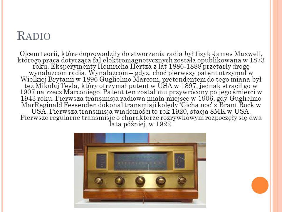 R ADIO Ojcem teorii, które doprowadziły do stworzenia radia był fizyk James Maxwell, którego praca dotycząca fal elektromagnetycznych została opubliko