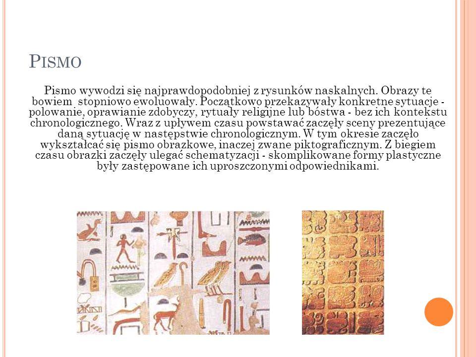 P ISMO Pismo wywodzi się najprawdopodobniej z rysunków naskalnych. Obrazy te bowiem stopniowo ewoluowały. Początkowo przekazywały konkretne sytuacje -