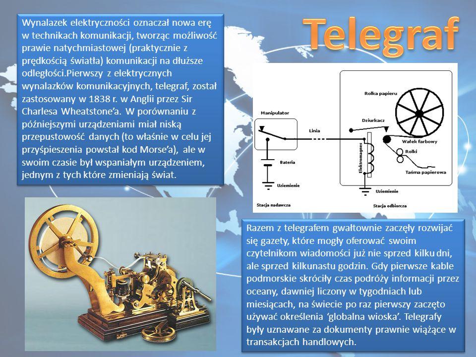 Wynalazek elektryczności oznaczał nowa erę w technikach komunikacji, tworząc możliwość prawie natychmiastowej (praktycznie z prędkością światła) komunikacji na dłuższe odległości.Pierwszy z elektrycznych wynalazków komunikacyjnych, telegraf, został zastosowany w 1838 r.