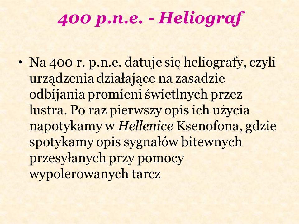 400 p.n.e. - Heliograf Na 400 r. p.n.e. datuje się heliografy, czyli urządzenia działające na zasadzie odbijania promieni świetlnych przez lustra. Po