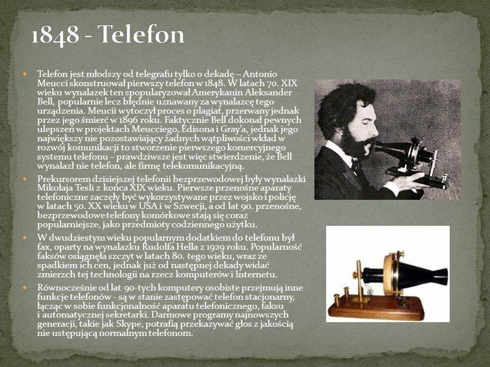 Telefon jest młodszy od telegrafu tylko o dekadę – Antonio Meucci skonstruował pierwszy telefon w 1848. W latach 70. XIX wieku wynalazek ten spopulary