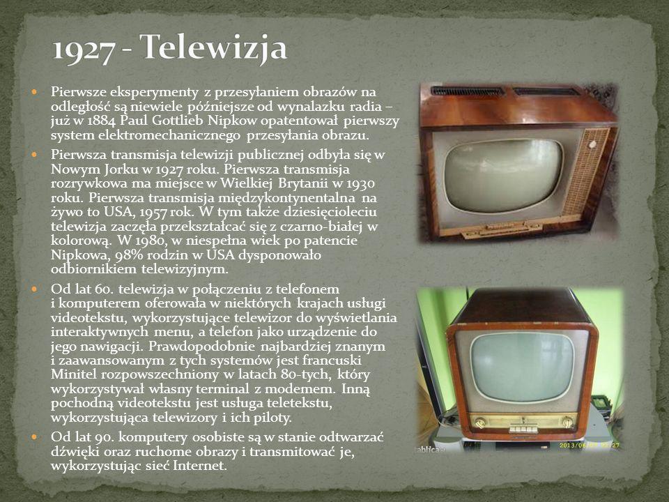 Pierwsze eksperymenty z przesyłaniem obrazów na odległość są niewiele późniejsze od wynalazku radia – już w 1884 Paul Gottlieb Nipkow opatentował pier
