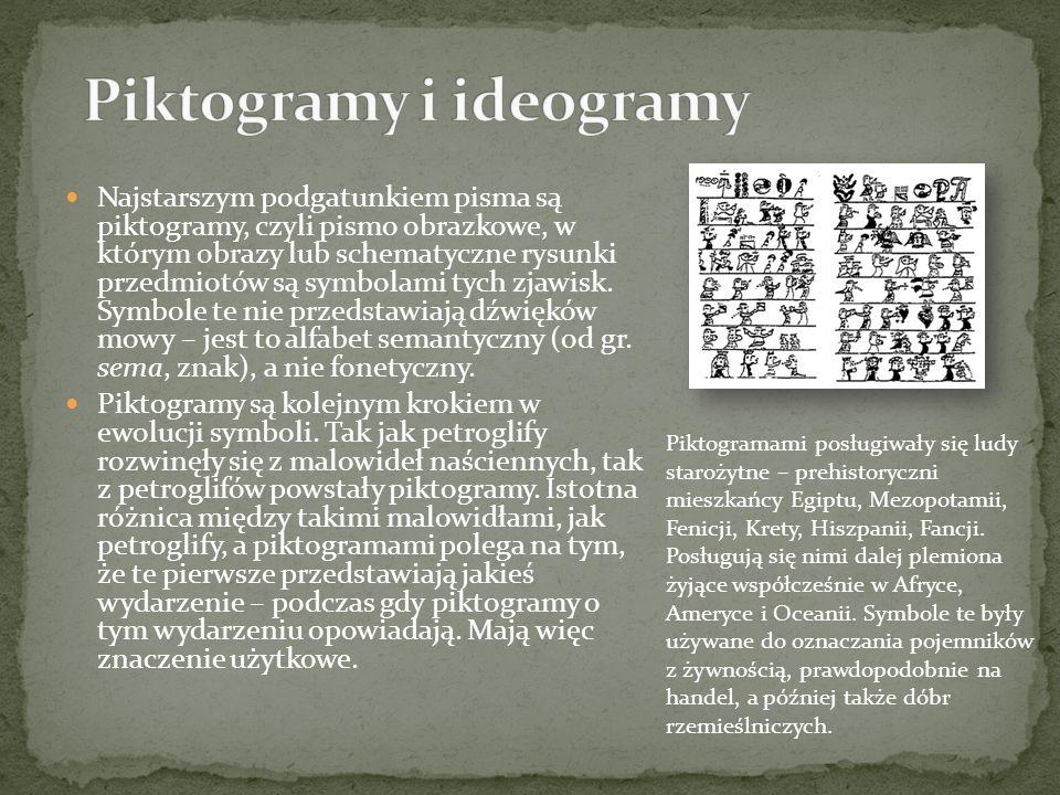 Najstarszym podgatunkiem pisma są piktogramy, czyli pismo obrazkowe, w którym obrazy lub schematyczne rysunki przedmiotów są symbolami tych zjawisk. S