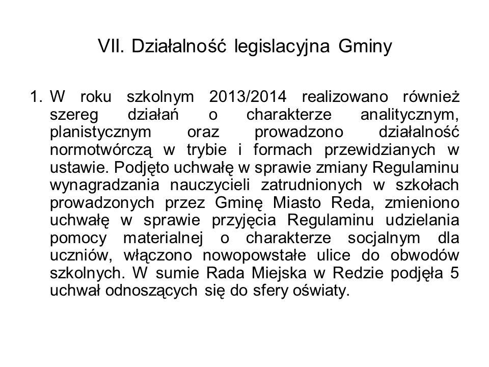 VII. Działalność legislacyjna Gminy 1.W roku szkolnym 2013/2014 realizowano również szereg działań o charakterze analitycznym, planistycznym oraz prow