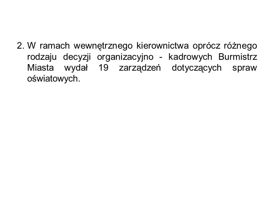 2.W ramach wewnętrznego kierownictwa oprócz różnego rodzaju decyzji organizacyjno - kadrowych Burmistrz Miasta wydał 19 zarządzeń dotyczących spraw oświatowych.