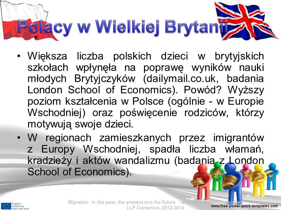 """Źródła: http://wyborcza.pl/1,76842,13039965,Od_2001_r__liczba_Polakow_w_ Anglii_wzrosla_dziesieciokrotnie_.html http://wyborcza.pl/1,76842,13367610,Polak_w_oczach_Brytyjczyka__zr zedliwy__niechlujny_.html#ixzz2bg59eR5U http://wyborcza.pl/1,76842,13822334,Na_Wyspach_tam__gdzie_miesz kaja_imigranci_np__z_Polski_.html#ixzz2bg5vUIbT http://wyborcza.pl/1,76842,11778824,Wiecej_Polakow_w_UK__lepsze_ wyniki_w_nauce.html#ixzz2bg7Icghs Bartosz Janiszewski w tekście """"Przybyli, zobaczyli, pokochali, zostali """"Wprost nr 21/2012 (1527) http://forum.gazeta.pl/forum/t,wykszta%B3ciuch.html Migration in the past, the present and the future - problems and opportunities LLP Comenius, 2012-2014"""