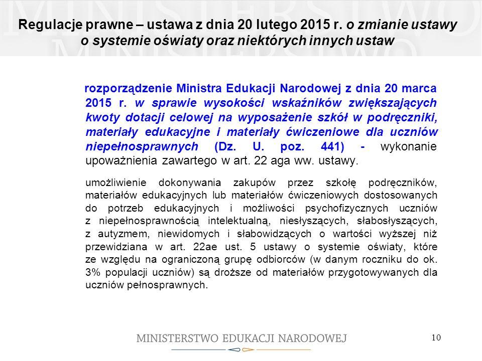 Regulacje prawne – ustawa z dnia 20 lutego 2015 r. o zmianie ustawy o systemie oświaty oraz niektórych innych ustaw rozporządzenie Ministra Edukacji N