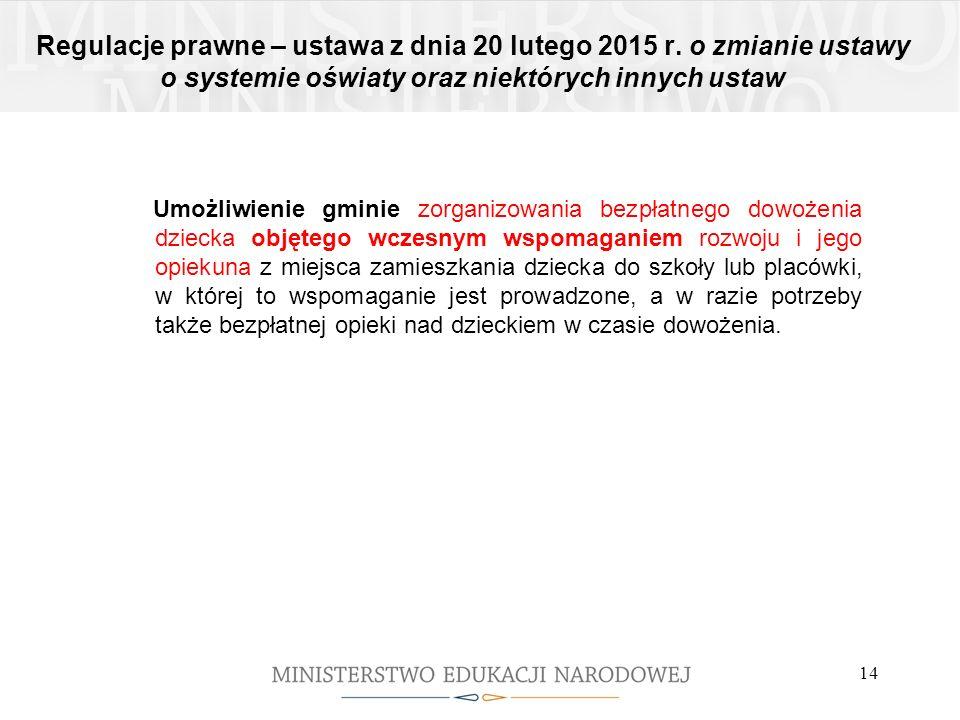 Regulacje prawne – ustawa z dnia 20 lutego 2015 r. o zmianie ustawy o systemie oświaty oraz niektórych innych ustaw Umożliwienie gminie zorganizowania