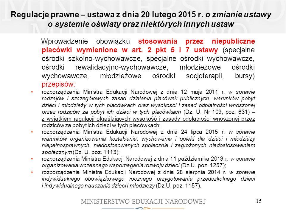 Regulacje prawne – ustawa z dnia 20 lutego 2015 r. o zmianie ustawy o systemie oświaty oraz niektórych innych ustaw Wprowadzenie obowiązku stosowania