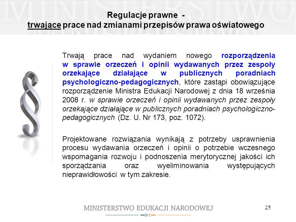 Regulacje prawne - trwające prace nad zmianami przepisów prawa oświatowego Trwają prace nad wydaniem nowego rozporządzenia w sprawie orzeczeń i opinii
