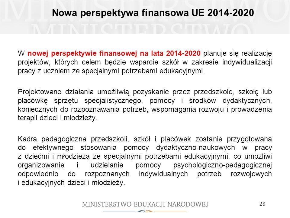 Nowa perspektywa finansowa UE 2014-2020 W nowej perspektywie finansowej na lata 2014-2020 planuje się realizację projektów, których celem będzie wspar