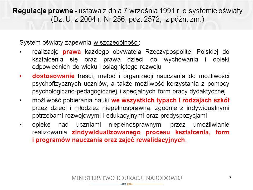 Regulacje prawne - ustawa z dnia 7 września 1991 r. o systemie oświaty (Dz. U. z 2004 r. Nr 256, poz. 2572, z późn. zm.) System oświaty zapewnia w szc