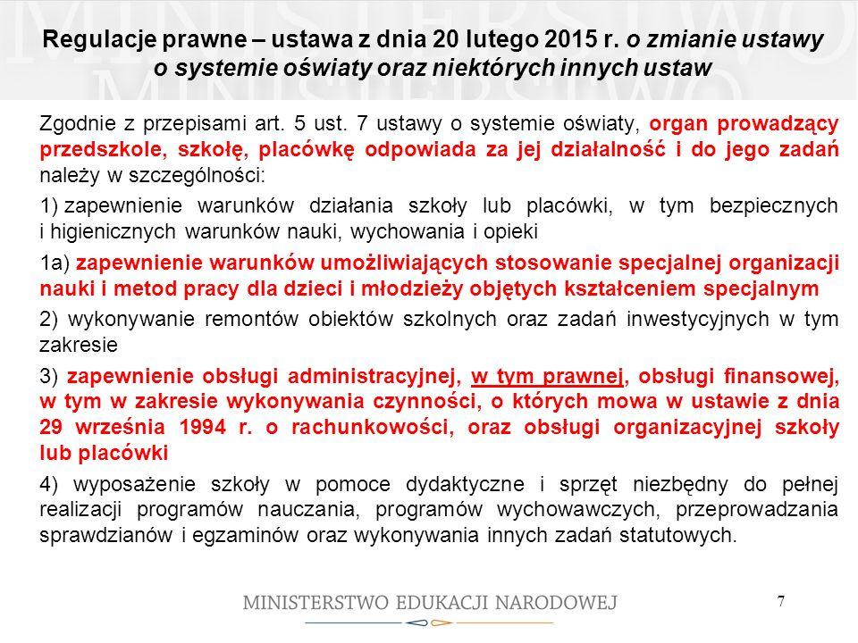 Regulacje prawne – ustawa z dnia 20 lutego 2015 r. o zmianie ustawy o systemie oświaty oraz niektórych innych ustaw Zgodnie z przepisami art. 5 ust. 7