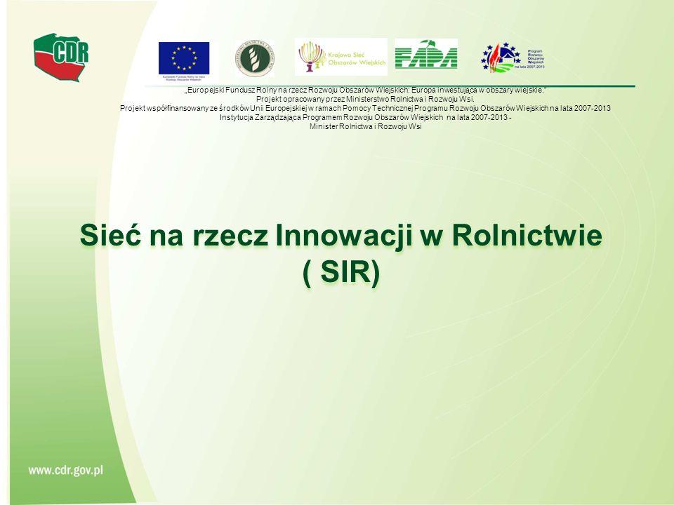 """Sieć na rzecz Innowacji w Rolnictwie ( SIR) """"Europejski Fundusz Rolny na rzecz Rozwoju Obszarów Wiejskich: Europa inwestująca w obszary wiejskie. Projekt opracowany przez Ministerstwo Rolnictwa i Rozwoju Wsi."""