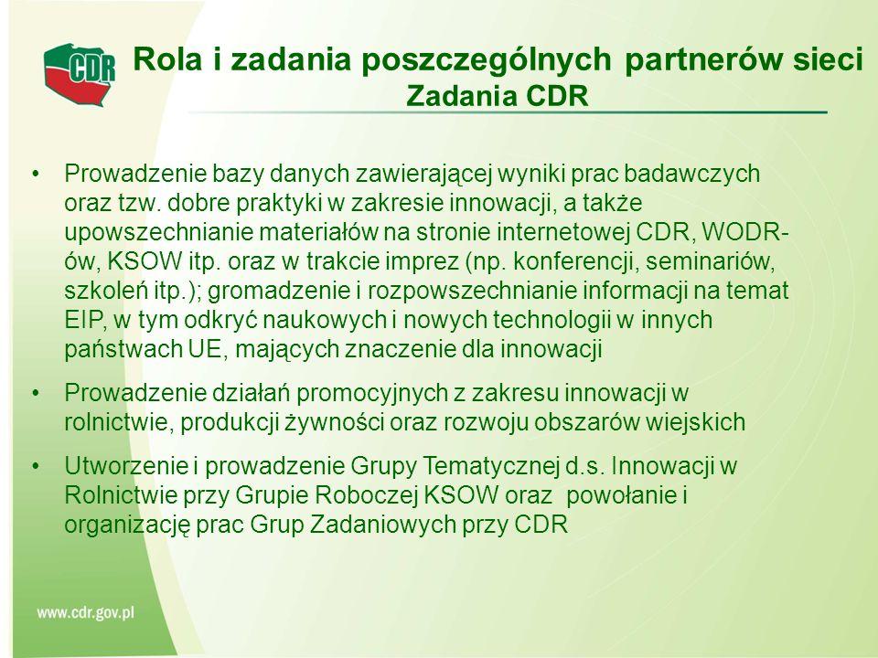 Rola i zadania poszczególnych partnerów sieci Zadania CDR Prowadzenie bazy danych zawierającej wyniki prac badawczych oraz tzw.
