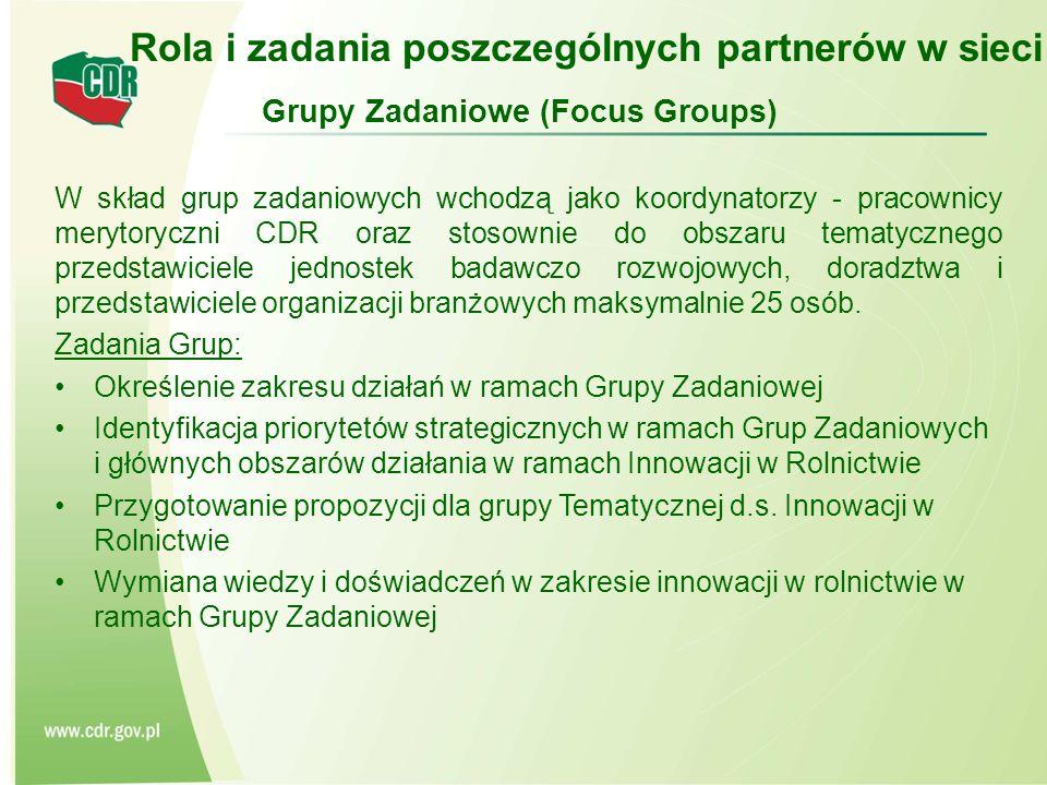 Grupy Zadaniowe (Focus Groups) W skład grup zadaniowych wchodzą jako koordynatorzy - pracownicy merytoryczni CDR oraz stosownie do obszaru tematycznego przedstawiciele jednostek badawczo rozwojowych, doradztwa i przedstawiciele organizacji branżowych maksymalnie 25 osób.