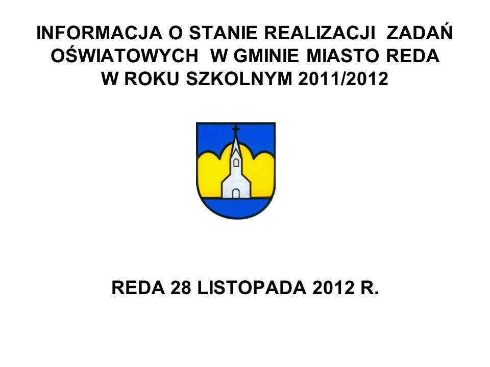 INFORMACJA O STANIE REALIZACJI ZADAŃ OŚWIATOWYCH W GMINIE MIASTO REDA W ROKU SZKOLNYM 2011/2012 REDA 28 LISTOPADA 2012 R.