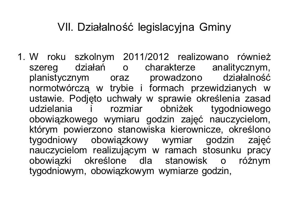 VII. Działalność legislacyjna Gminy 1.W roku szkolnym 2011/2012 realizowano również szereg działań o charakterze analitycznym, planistycznym oraz prow