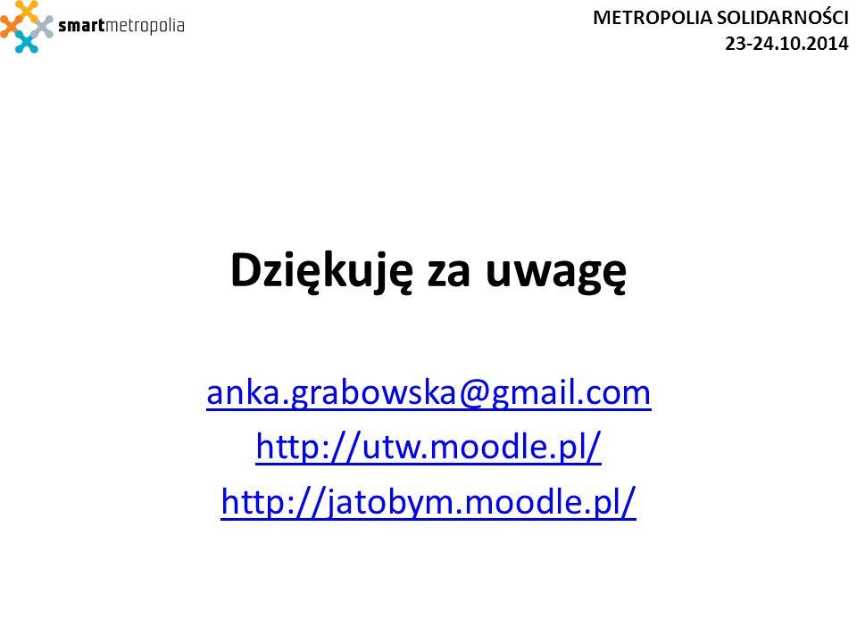 Dziękuję za uwagę anka.grabowska@gmail.com http://utw.moodle.pl/ http://jatobym.moodle.pl/ METROPOLIA SOLIDARNOŚCI 23-24.10.2014
