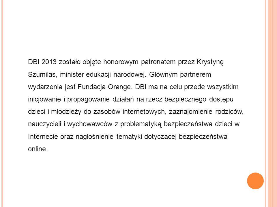 DBI 2013 zostało objęte honorowym patronatem przez Krystynę Szumilas, minister edukacji narodowej. Głównym partnerem wydarzenia jest Fundacja Orange.