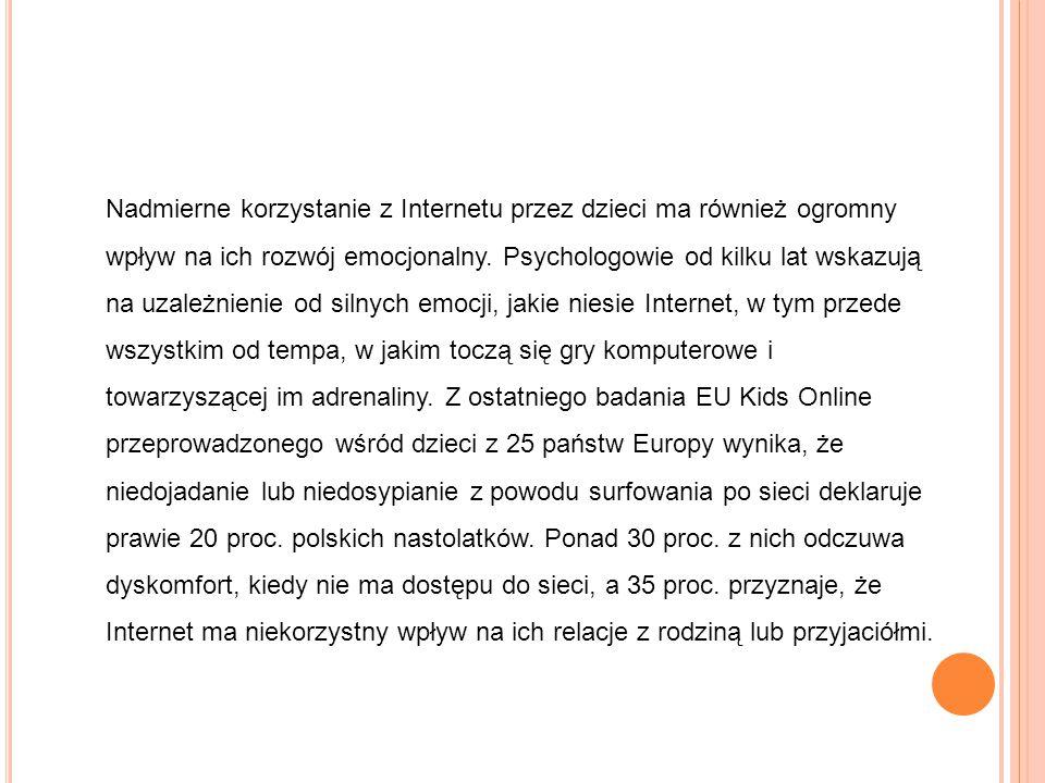 Nadmierne korzystanie z Internetu przez dzieci ma również ogromny wpływ na ich rozwój emocjonalny. Psychologowie od kilku lat wskazują na uzależnienie
