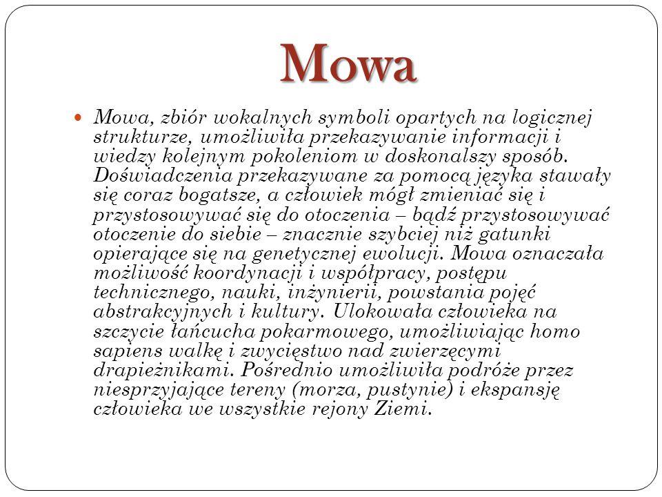 Mowa Mowa, zbiór wokalnych symboli opartych na logicznej strukturze, umożliwiła przekazywanie informacji i wiedzy kolejnym pokoleniom w doskonalszy sp