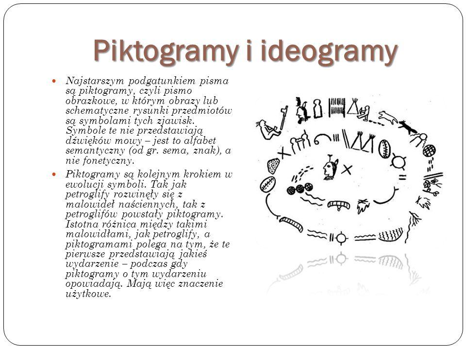 Pisma ideograficzne Z czasem ideogramy coraz bardziej odchodziły od 'zwykłych obrazków' i ewoluowały w stronę bardziej abstrakcyjnych symboli, nadal jednak zachowały swoją podstawową ideę, że dany znak reprezentuje konkretne pojęcie.